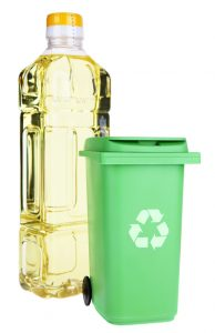 Cooking oil bottle and recyclables container